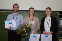 86 - GOR Thesis Award 2019 Winner Nadja Sigle (University of Applied Sciences Stuttgart, Germany), center, with contestants Marius Becker (Technische Universität Ilmenau, Germany), left, and Jasmin Lehmann (TU Ilmenau, Germany), right